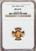 Gold Dollars, 1873 G$1 Open 3 MS62 Prooflike NGC. NGC Census: (9/12). Mintage:123,300. (#77573)...