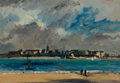 Fine Art - Painting, American:Antique  (Pre 1900), EDWARD DARLEY BOIT (American, 1842-1916). View of the CityAcross the Water, 1882. Oil on panel. 6 x 9-1/2 inches (15.2...