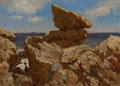 Fine Art - Painting, American:Antique  (Pre 1900), JOHN BRADLEY HUDSON (American, 1832-1903). Rocky Cove withBalancing Rock, 1880. Oil on canvas. 10 x 14-1/4 inches(25.4...