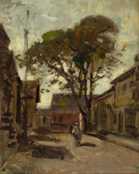 PAUL CORNOYER (American, 1864-1923) View of a Town Square with a Man Oil on artists' board 10 x 8