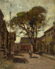 PAUL CORNOYER (American, 1864-1923) View of a Town Square with a Man Oil on artists' board 10 x 8 inches (25.4 x 20.3