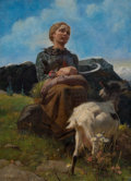 Fine Art - Painting, European, KONRAD GROB (Swiss, 1828-1904). Portrait of Heidi with Goat.Oil on canvas . 44 x 32 inches (111.8 x 81.3 cm). Signed lo...