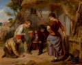 Paintings, WILLIAM HENRY KNIGHT (British, 1823-1863). Knuckle Down, 1857. Oil on cradled panel . 17 x 22 inches (43.2 x 55.9 cm). S...