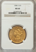 Liberty Eagles: , 1848 $10 MS60 NGC. NGC Census: (5/22). PCGS Population (0/11).Mintage: 145,484. Numismedia Wsl. Price for problem free NGC...