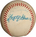 Autographs:Baseballs, Circa 1940 Pie Traynor & Lefty Grove Signed Baseball....