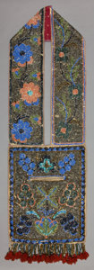 American Indian Art:Beadwork and Quillwork, A CHIPPEWA BEADED CLOTH BEADED CLOTH BANDOLIER BAG. c. 1890...