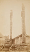 American Indian Art:Photographs, TWO PARTRIDGE BROTHERS BOUDOIR PHOTOGRAPHS OF TOTEM POLES, ALASKA.c. 1886... (Total: 2 Items)