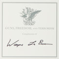 Books:Americana & American History, Wayne LaPierre. SIGNED. Guns, Freedom, and Terrorism.Nashville: WND Books, [2003]. First edition. Signed by the ...