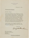 Autographs:Letters, 1954 President Dwight D. Eisenhower Signed Letter to Honus Wagneron His 80th Birthday, PSA/DNA Gem Mint 10....