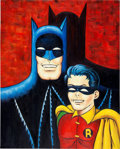 Original Comic Art:Paintings, Bob Kane Batman and Robin Painting Original Art (undated)....