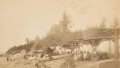 "American Indian Art:Photographs, THREE PARTRIDGE BROTHERS BOUDOIR PHOTOGRAPHS: ""CHIEF SHOKES HOUSE,FORT WRANGLE,"" ""INDIAN GRAVES, FT. WRANGLE,"" and ""INDIAN CA...(Total: 3 Items)"