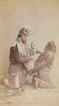 """American Indian Art:Photographs, TWO EDWARD DE GROFF BOUDOIR PHOTOGRAPHS: """"WITCHCRAFT, SHAMAN AND WITCH"""" and """"WITCHCRAFT, SHAMAN TYING WITCH"""". c. 1890... (Total: 2 Items)"""