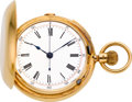 Timepieces:Pocket (pre 1900) , Swiss 18k Gold Quarter Hour Repeater With Chronograph, circa 1890....