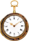 Timepieces:Pocket (pre 1900) , Thomas Wagstaff London Gold & Tortoise Quarter Hour Repeater Pair Case, circa 1770. ...