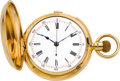 Timepieces:Pocket (pre 1900) , Swiss 18k Gold Quarter Hour Repeater With Chronograph, circa 1890. ...
