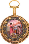 Timepieces:Pocket (pre 1900) , Marchand Fils Paris Multicolor Gold & Enamel Verge Fusee, circa1775. ...