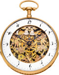 Timepieces:Pocket (pre 1900) , Swiss Gold Skeletonized Quarter Hour Repeater With Automaton, circa1820. ... (Total: 1 Pieces)