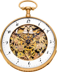 Swiss Gold Skeletonized Quarter Hour Repeater With Automaton, circa 1820