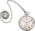 Timepieces:Pocket (post 1900), Jules Jurgensen Platinum Watch, Original Box & Chain, circa1929. ...
