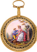 Timepieces:Pocket (pre 1900) , Andre Hessen Paris Very Fine Multicolor Gold & Enamel Verge,circa 1780. ...