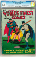 Golden Age (1938-1955):Superhero, World's Finest Comics #3 (DC, 1941) CGC FN- 5.5 Off-white pages....