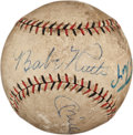 Autographs:Baseballs, 1927 Babe Ruth & Lou Gehrig Signed Baseball with Mantle, Mays & Aaron....