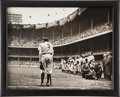 """Baseball Collectibles:Photos, 1948 """"The Babe Bows Out"""" Original Photograph by Nat Feinwith Handwritten Notes on Verso...."""