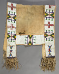 American Indian Art:Beadwork and Quillwork, A SIOUX BEADED HIDE SADDLE THROW. c. 1890...