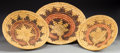 American Indian Art:Baskets, THREE NAVAJO POLYCHROME COILED WEDDING TRAYS. c. 1950... (Total: 3Items)