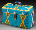 American Indian Art:Beadwork and Quillwork, A SIOUX BEADED HIDE LUNCH BASKET. c. 1912...