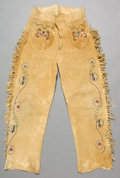 American Indian Art:Beadwork and Quillwork, A PAIR OF NORTHERN PLAINS BEADED HIDE TROUSERS. c. 1890...