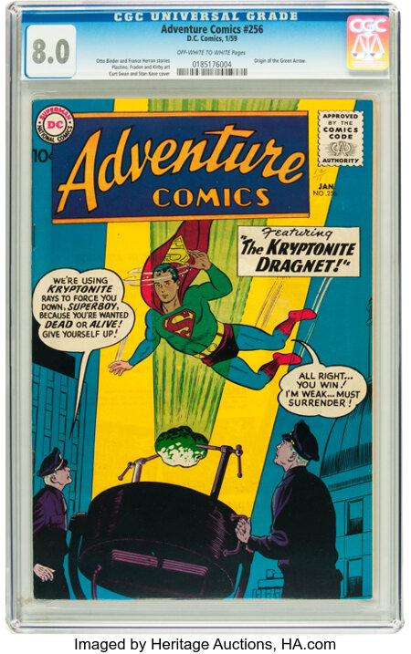 Adventure Comics #256 (DC, 1959) CGC VF 8.0 Off-white to white pages....