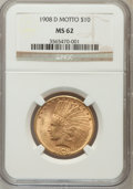Indian Eagles, 1908-D $10 Motto MS62 NGC....
