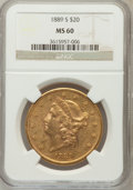 Liberty Double Eagles: , 1889-S $20 MS60 NGC. NGC Census: (120/1278). PCGS Population(50/1385). Mintage: 774,700. Numismedia Wsl. Price for problem...