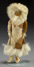 American Indian Art:Beadwork and Quillwork, AN ESKIMO PAINTED HIDE FEMALE DOLL...