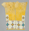 American Indian Art:Beadwork and Quillwork, A PAIR OF CHEYENNE WOMAN'S BEADED HIDE LEGGINGS . c. 1890...(Total: 1 Pair)