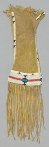 American Indian Art:Beadwork and Quillwork, A CHEYENNE/ARAPAHO BEADED HIDE TOBACCO BAG . c. 1890. ...