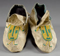 American Indian Art:Beadwork and Quillwork, A PAIR OF CROW CHILD'S BEADED HIDE MOCCASINS. ... (Total: 1 Pair)
