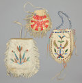American Indian Art:Beadwork and Quillwork, THREE SIOUX BEADED/QUILLED HIDE POUCHES. c. 1890... (Total: 3Items)