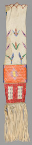 American Indian Art:Beadwork and Quillwork, A SIOUX BEADED AND QUILLED HIDE TOBACCO BAG. c. 1890...