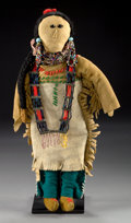 American Indian Art:Beadwork and Quillwork, A SIOUX BEADED HIDE FEMALE DOLL. c. 1920...