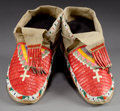 American Indian Art:Beadwork and Quillwork, A PAIR OF SIOUX QUILLED AND BEADED HIDE MOCCASINS. c. 1900...(Total: 1 Pair)
