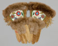 American Indian Art:Beadwork and Quillwork, A PAIR OF CREE BEADED MOOSE HIDE GAUNTLETS. c. 1920... (Total: 1Pair)