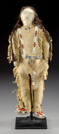 American Indian Art:Beadwork and Quillwork, A SIOUX BEADED HIDE MALE DOLL . c. 1900...