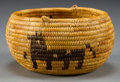 American Indian Art:Baskets, A MISSION PICTORIAL COILED BOWL. c. 1900...