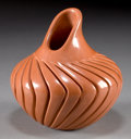 American Indian Art:Pottery, A JEMEZ CARVED REDWARE VASE. Alvina Yepa...