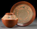 American Indian Art:Pottery, TWO SAN ILDEFONSO REDWARE ITEMS. Russell Sanchez. c. 1990...(Total: 2 Items)