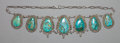 American Indian Art:Jewelry and Silverwork, A NAVAJO SILVER AND TURQUOISE NECKLACE. c. 1940...