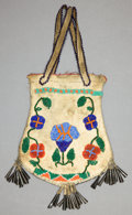 American Indian Art:Beadwork and Quillwork, A PLAINS OR PLATEAU BEADED HIDE HAND BAG...