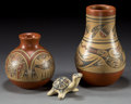 American Indian Art:Pottery, THREE SANTA CLARA POLYCHROME ITEMS. Margaret and Luther Gutierrez.c. 1970... (Total: 3 Items)